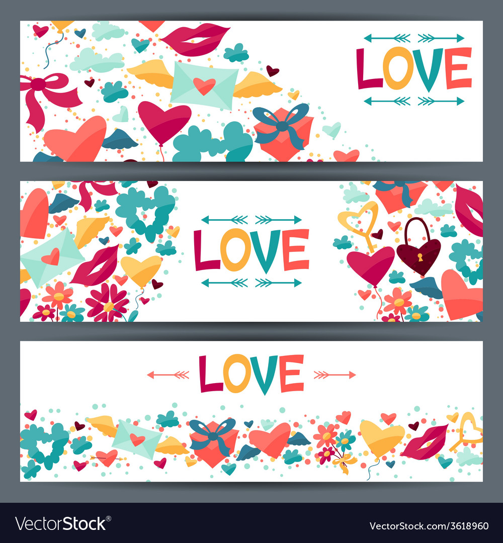 Banners with valentine and wedding icons vector | Price: 1 Credit (USD $1)