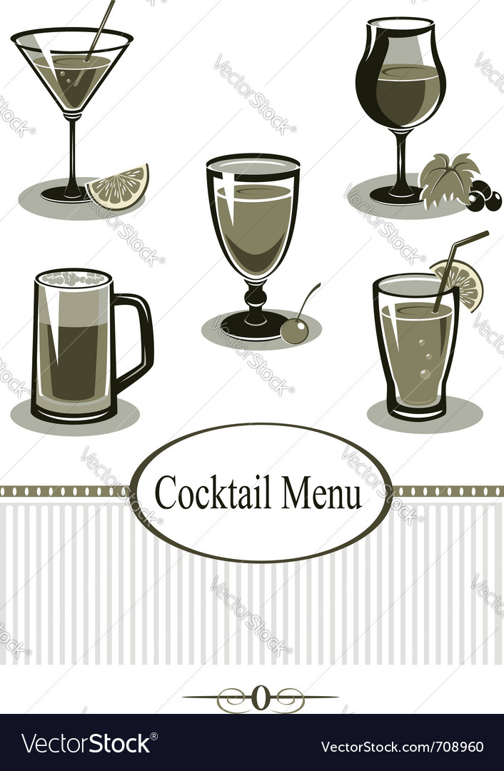 Cocktail icons set vector | Price:  Credit (USD $)