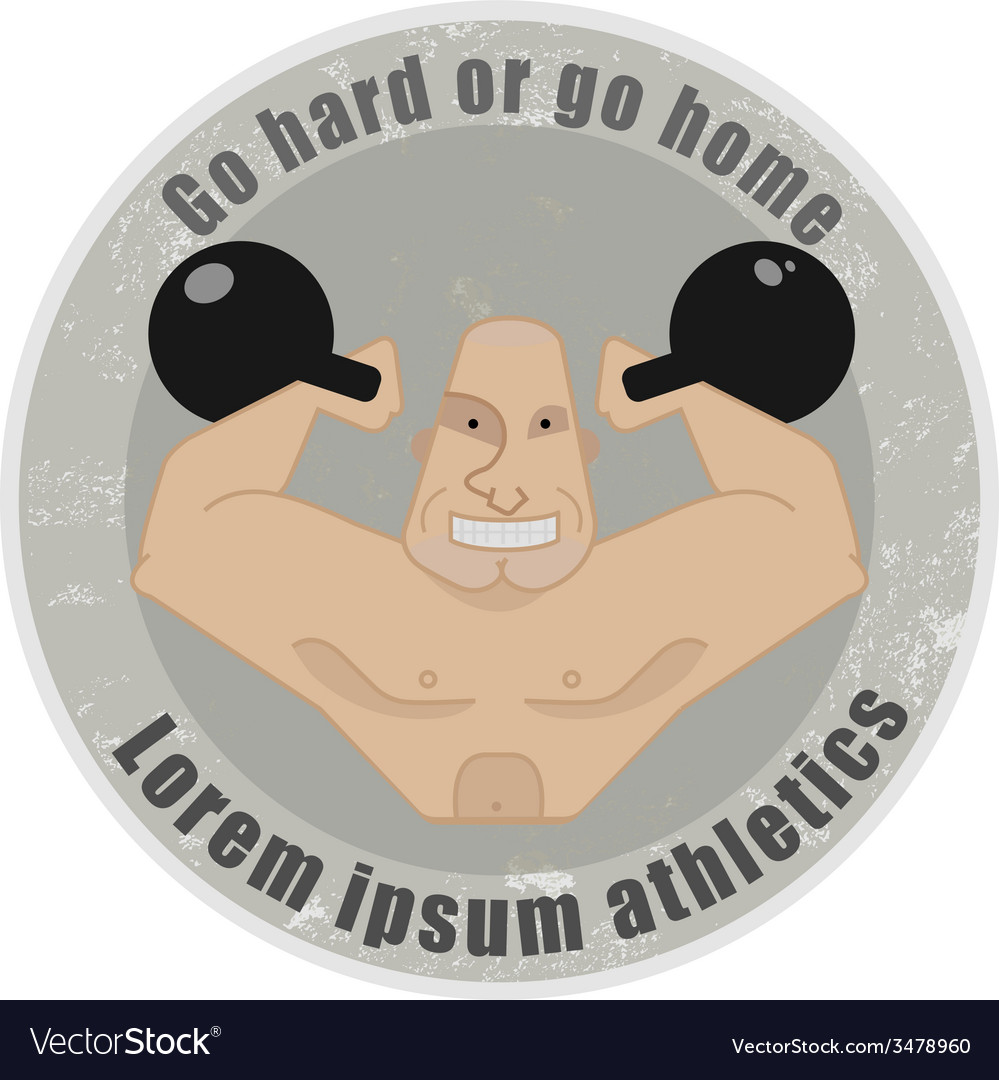 Emblem with strongman holding kettlebells vector | Price: 1 Credit (USD $1)