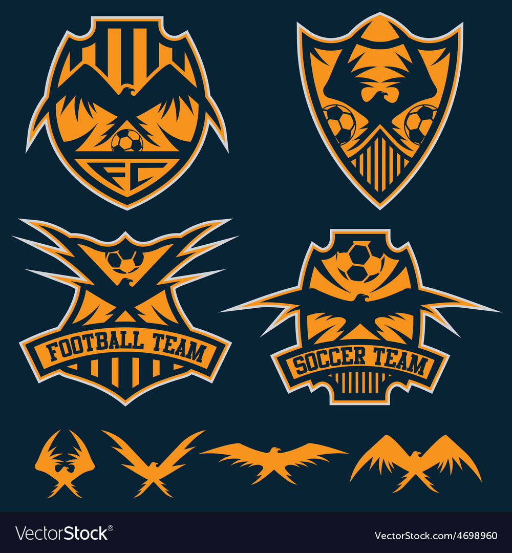 Football team crests set with eagles design vector | Price: 1 Credit (USD $1)