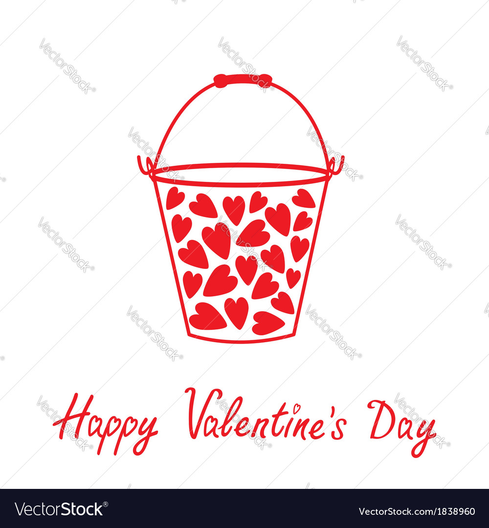 Love bucket with hearts happy valentines day vector | Price: 1 Credit (USD $1)