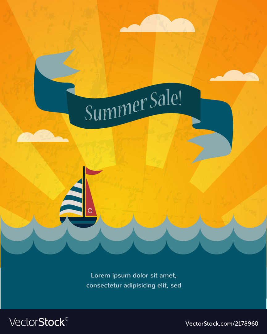 Retro summer sale poster infographic vector | Price: 1 Credit (USD $1)
