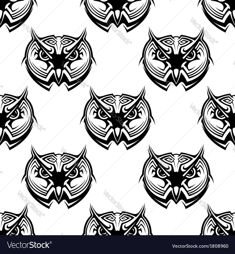 Seamless pattern of wise old owls vector | Price: 1 Credit (USD $1)