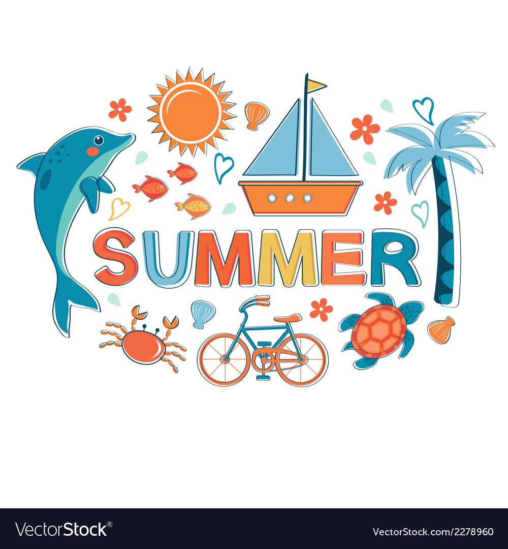 Summer colorful composition vector | Price: 1 Credit (USD $1)