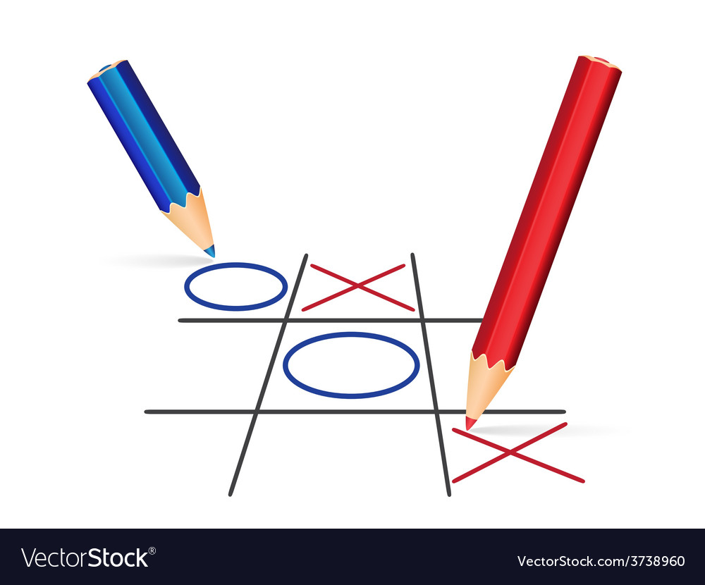Two pencils playing tic-tac-toe vector   Price: 1 Credit (USD $1)