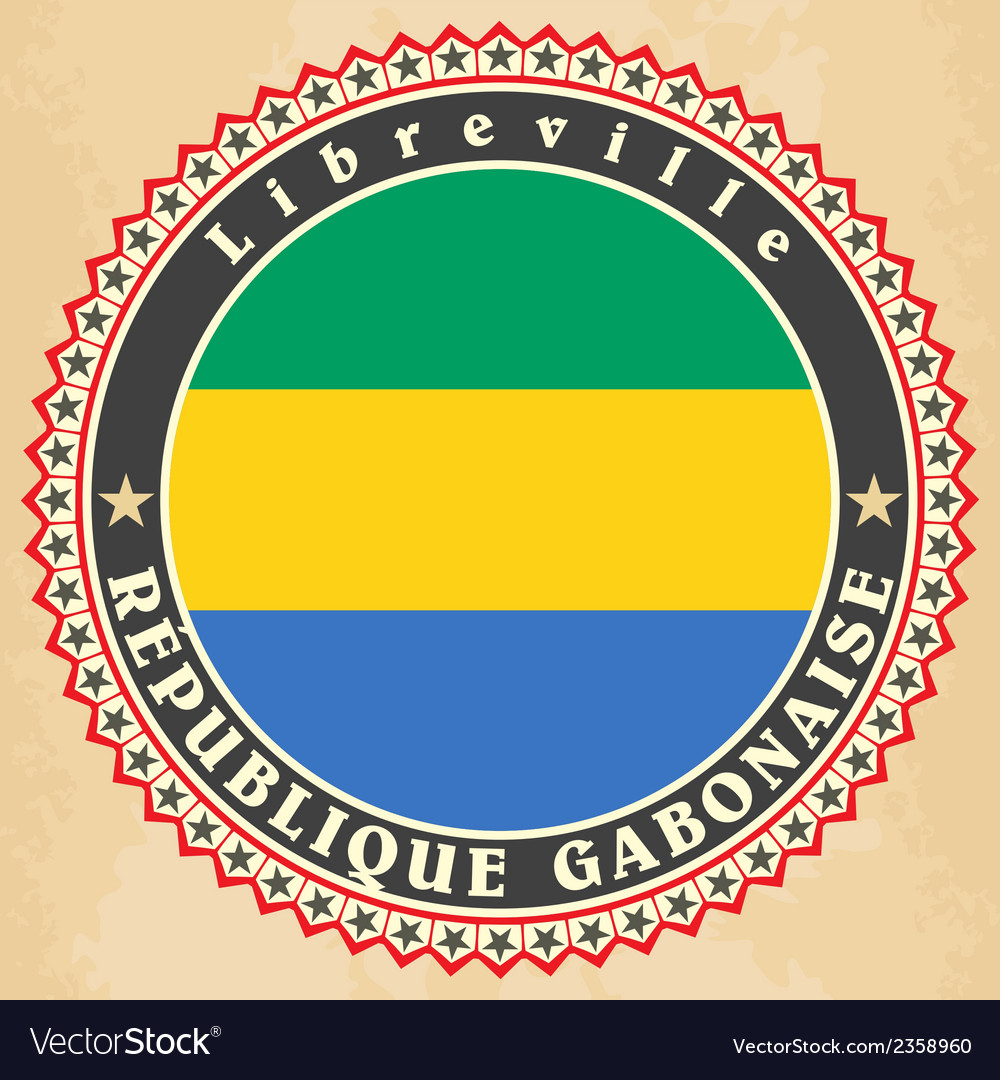 Vintage label cards of gabon flag vector | Price: 1 Credit (USD $1)
