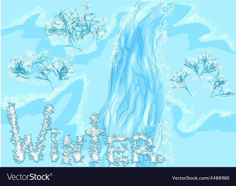 Waterfall winter vector | Price: 1 Credit (USD $1)