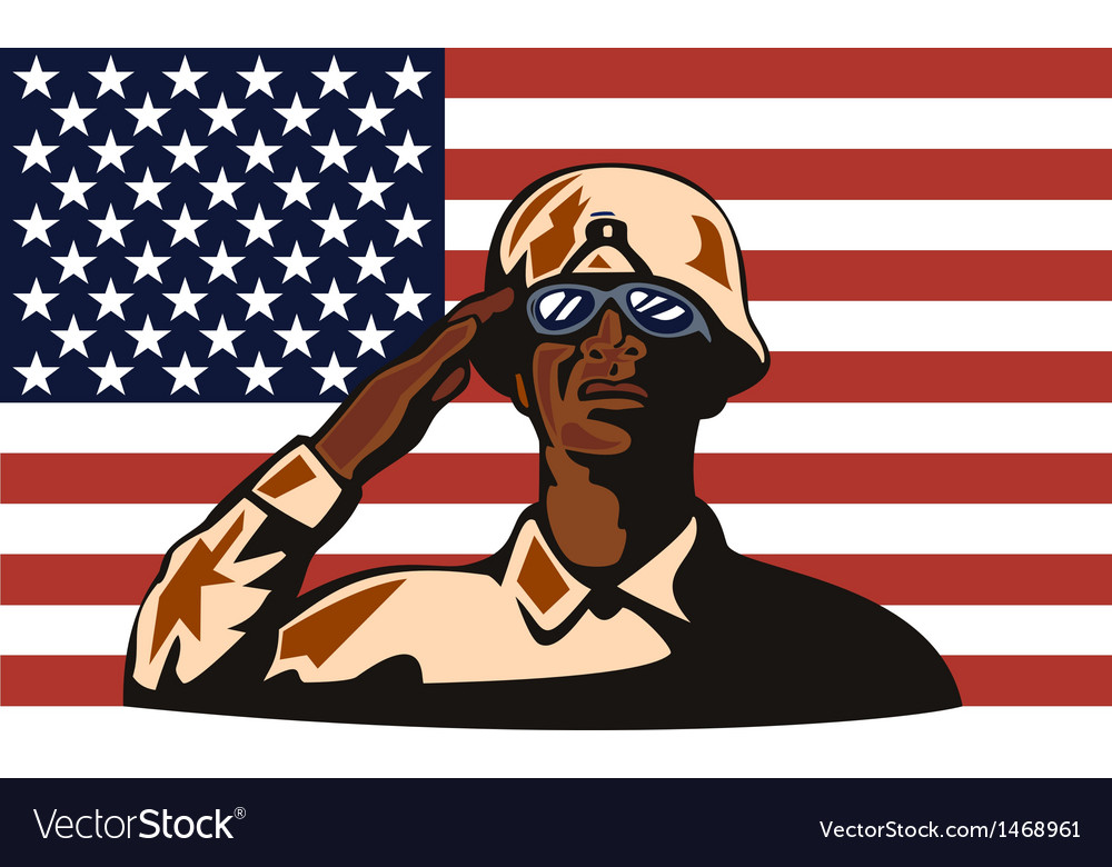 American soldier serviceman saluting vector | Price: 1 Credit (USD $1)
