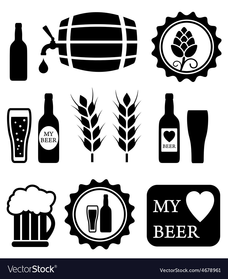 Beer isolated objects set vector | Price: 1 Credit (USD $1)
