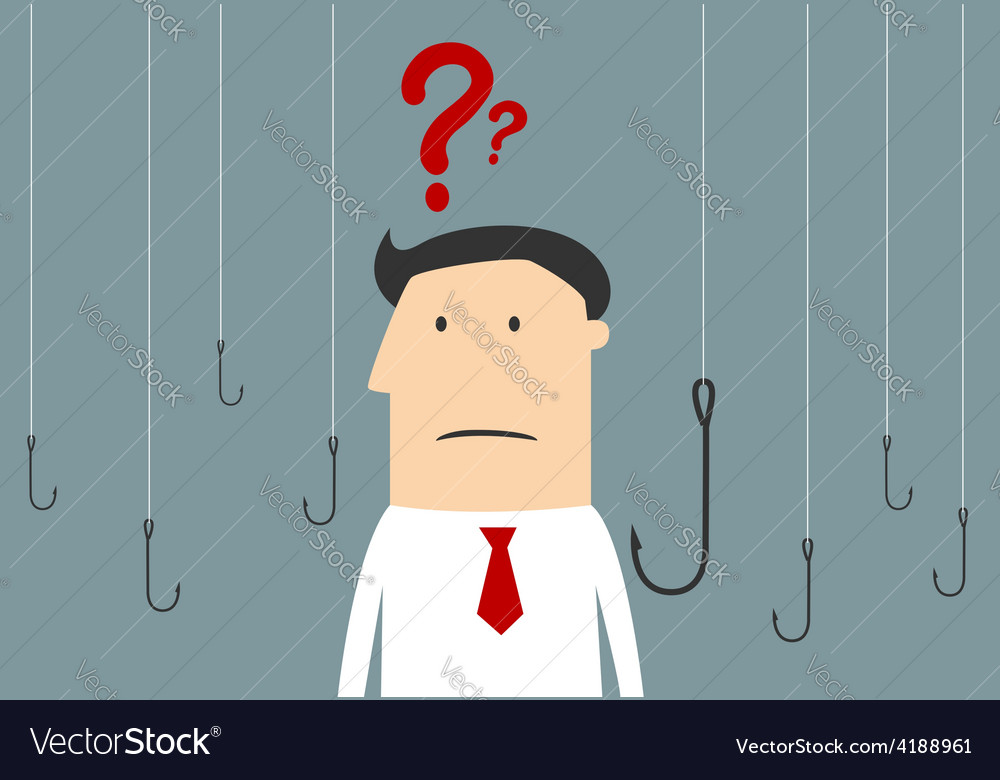 Cartoon businessman thinking between hooks vector | Price: 1 Credit (USD $1)