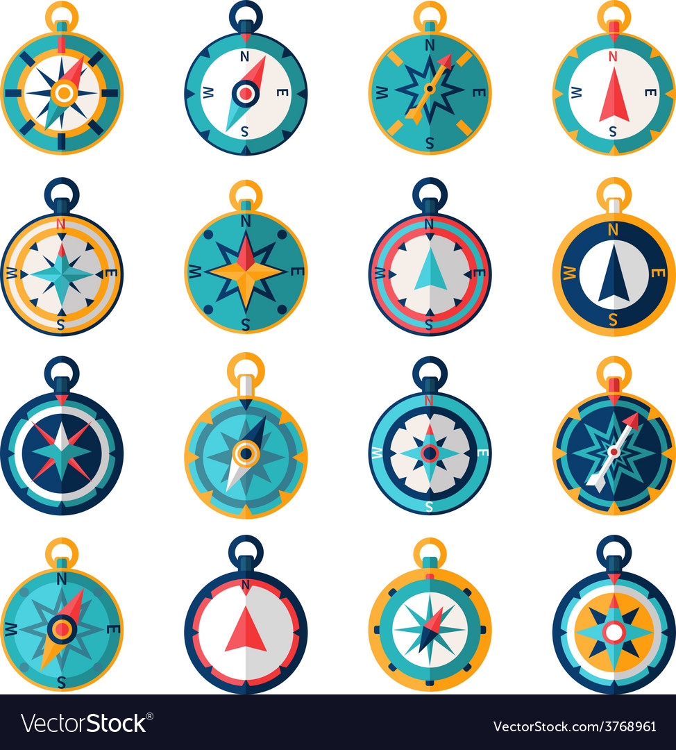 Compass icon flat vector | Price: 1 Credit (USD $1)