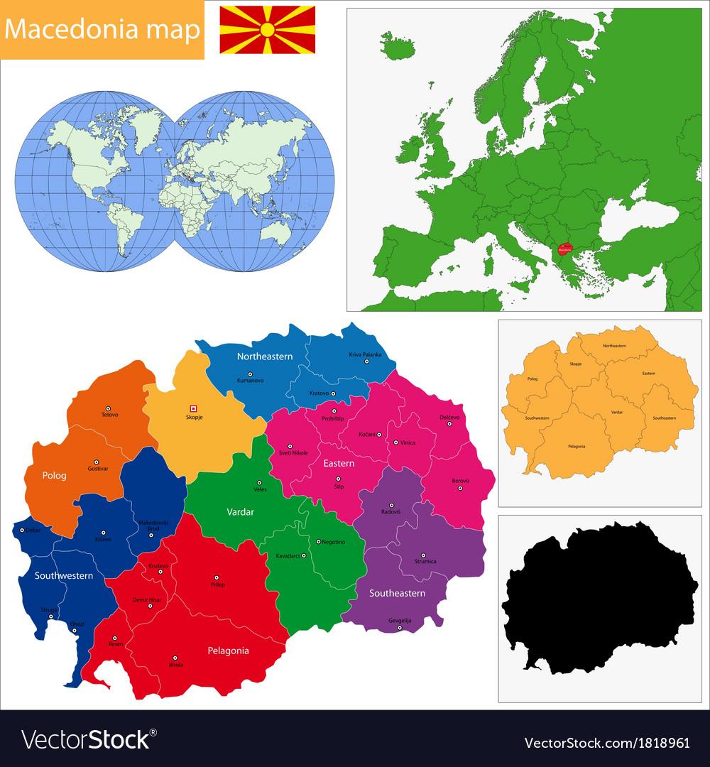 Macedonia map vector | Price: 1 Credit (USD $1)