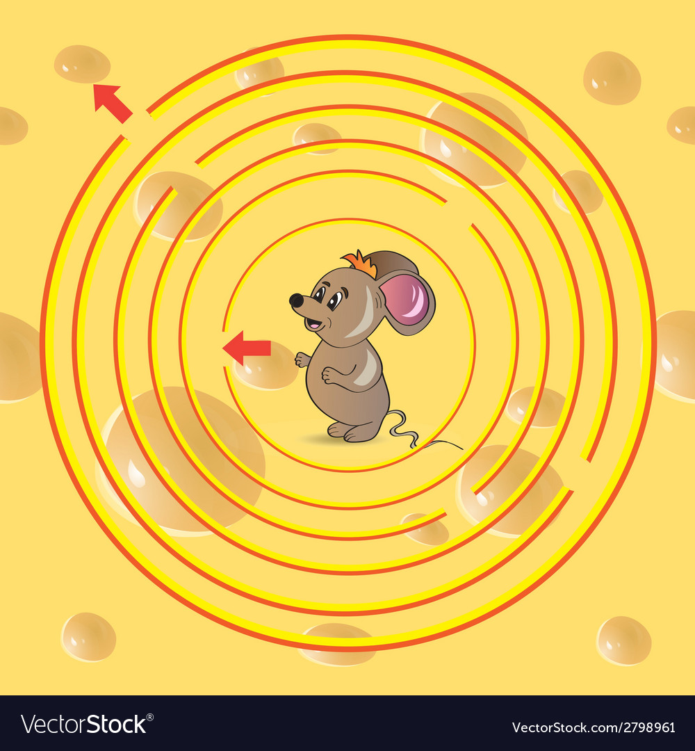 Maze with mouse a vector | Price: 1 Credit (USD $1)