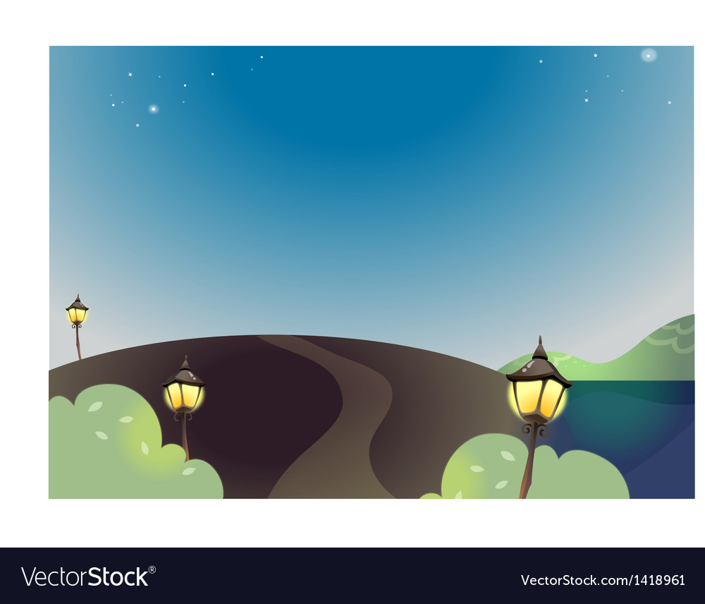 Night landscape with street lamp vector | Price: 1 Credit (USD $1)