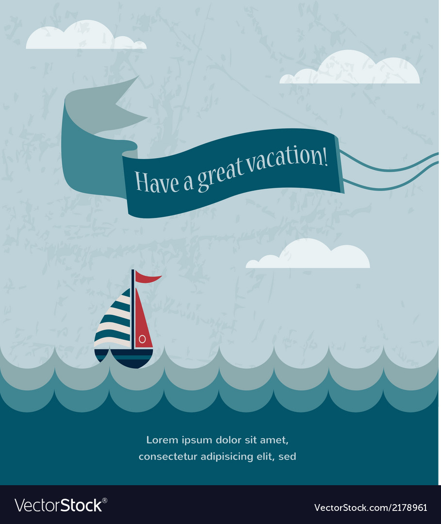Retro summer poster with wavy sea and boat vector | Price: 1 Credit (USD $1)