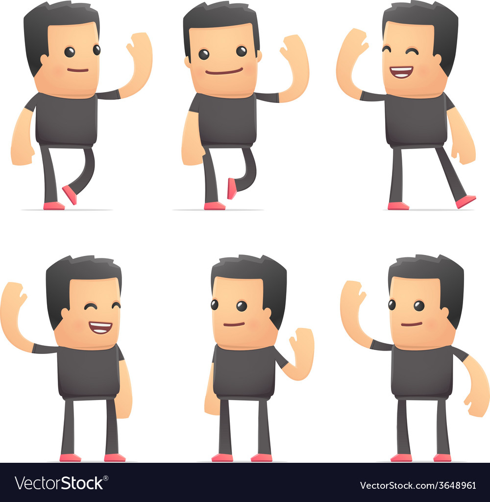 Set of bad guy character in different poses vector   Price: 3 Credit (USD $3)