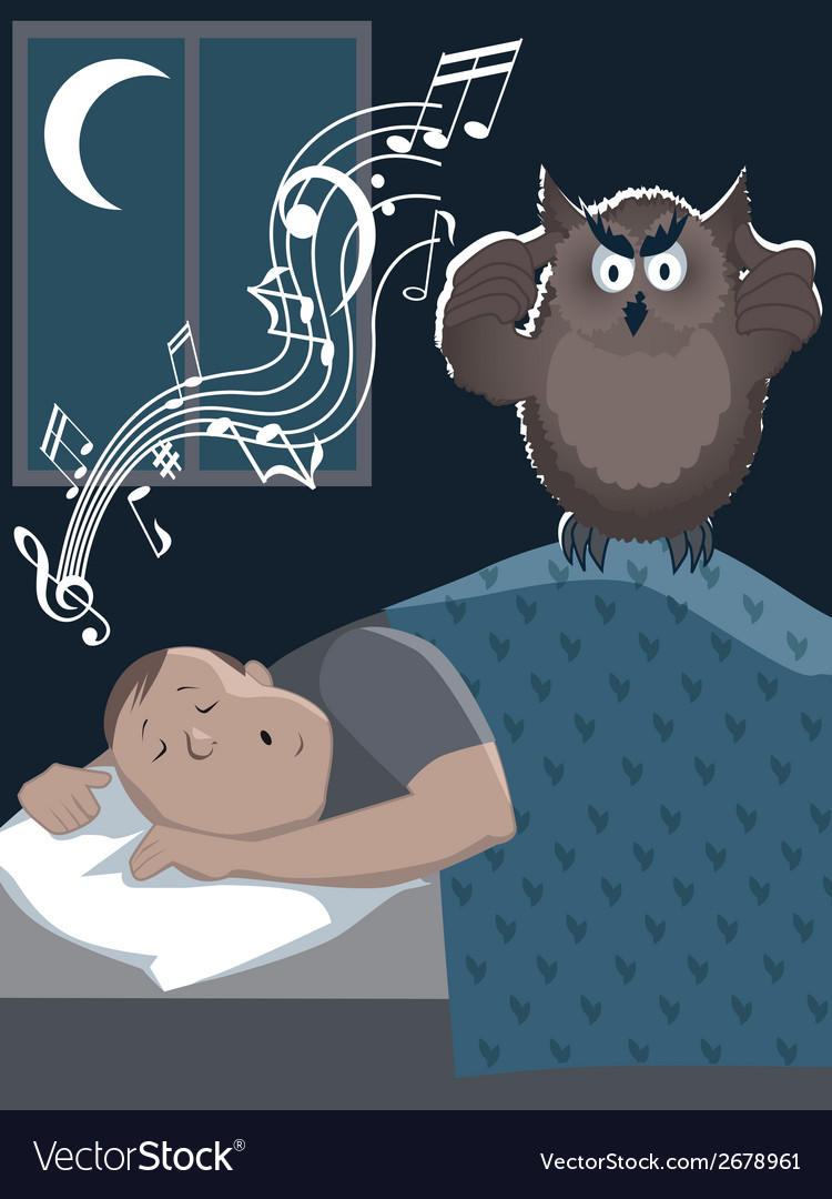 Snoring man and annoyed owl vector | Price: 1 Credit (USD $1)