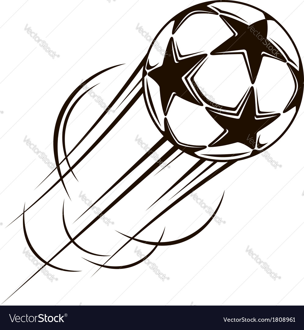 Soccer ball with stars flying through the air vector | Price: 1 Credit (USD $1)