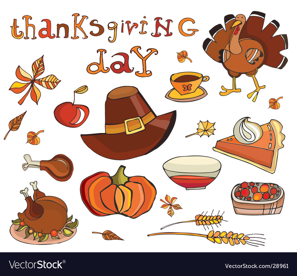 Thanksgiving day icon set vector | Price: 1 Credit (USD $1)