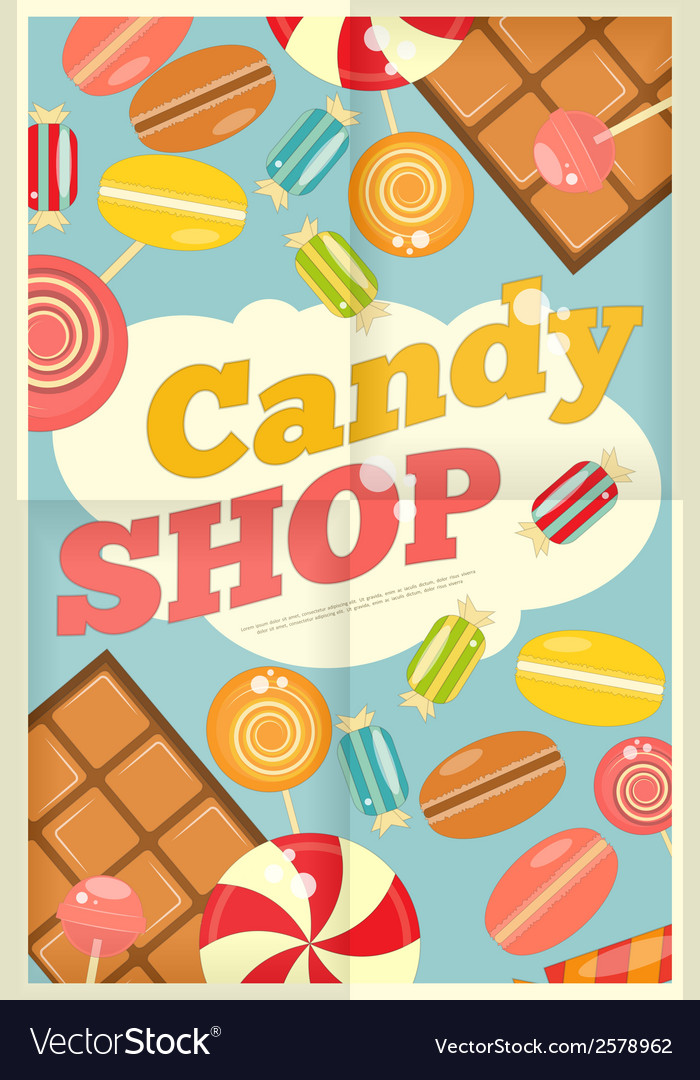 19 candy shop poster vector