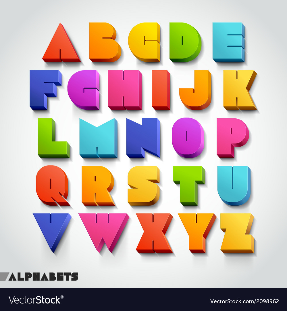 3d alphabet colorful font vector | Price: 1 Credit (USD $1)