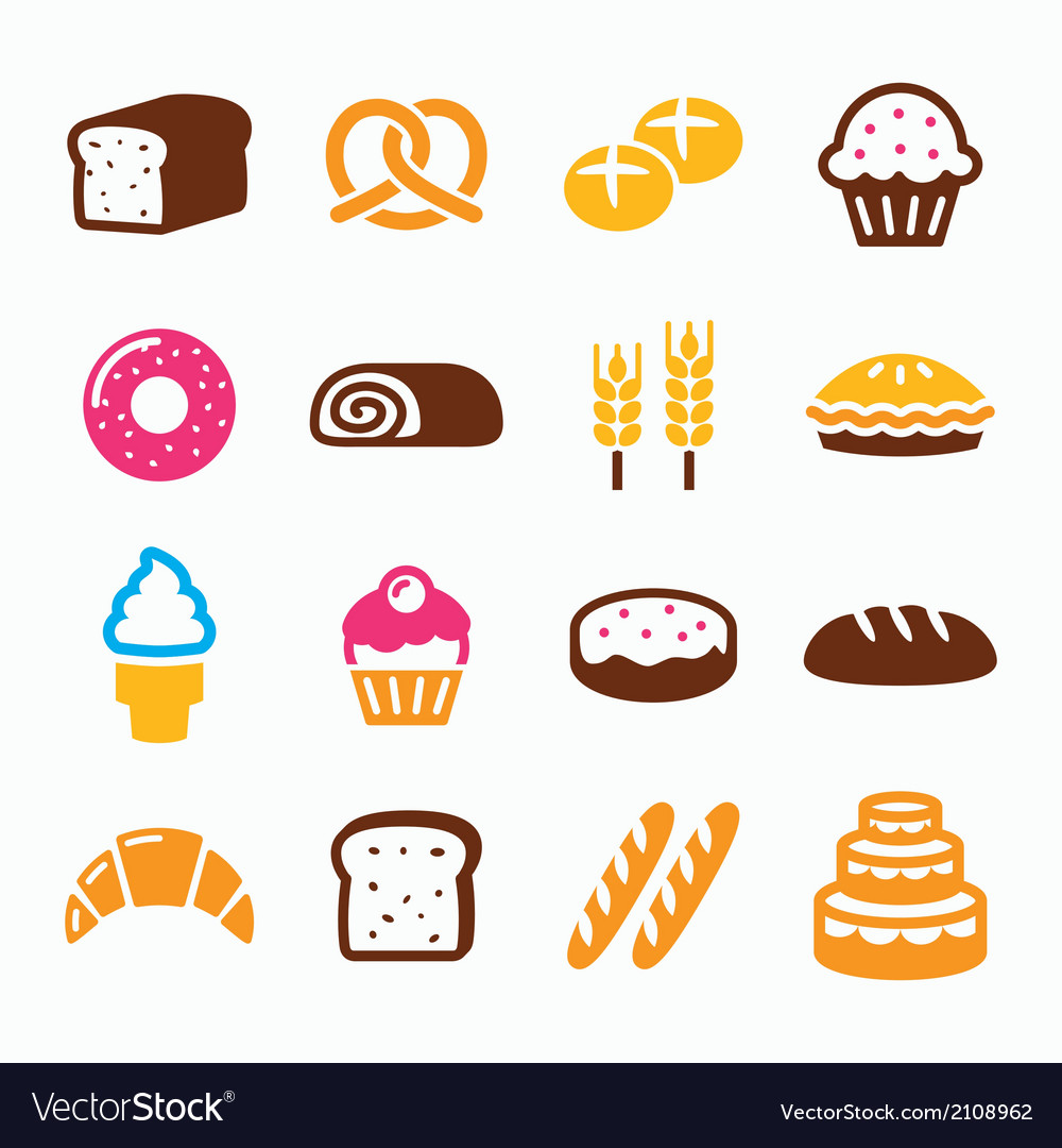 Bakery pastry icon set - bread donut cake vector | Price: 1 Credit (USD $1)