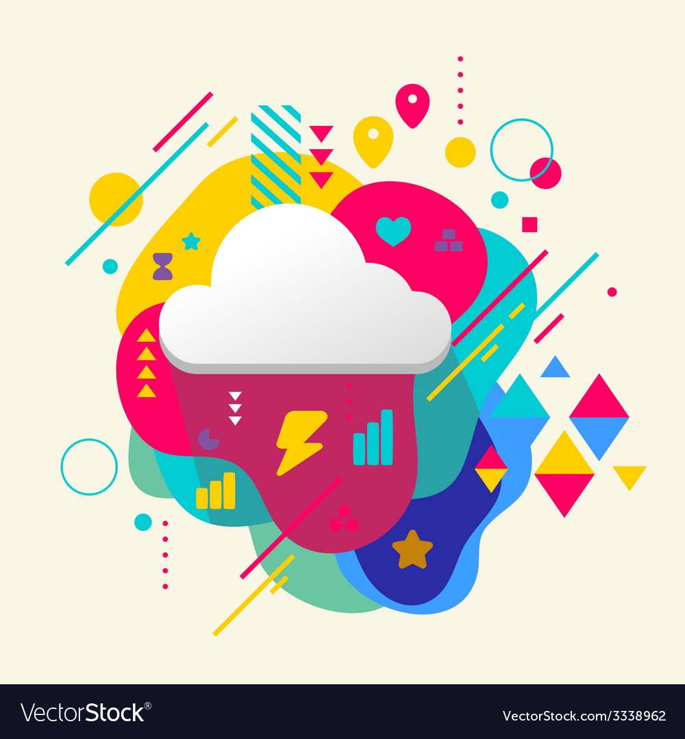 Cloud on abstract colorful spotted background with vector | Price: 3 Credit (USD $3)