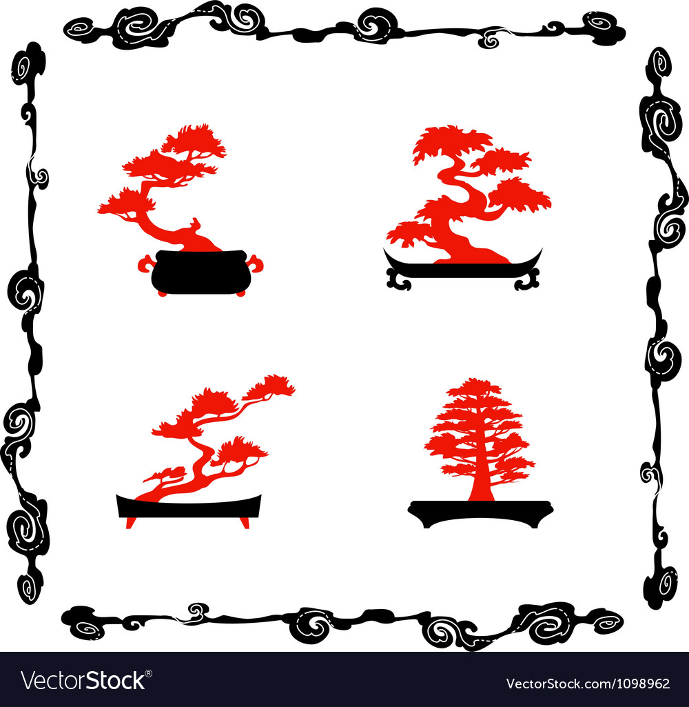 Collection of chinensi bonsai silhouettes vector | Price: 1 Credit (USD $1)
