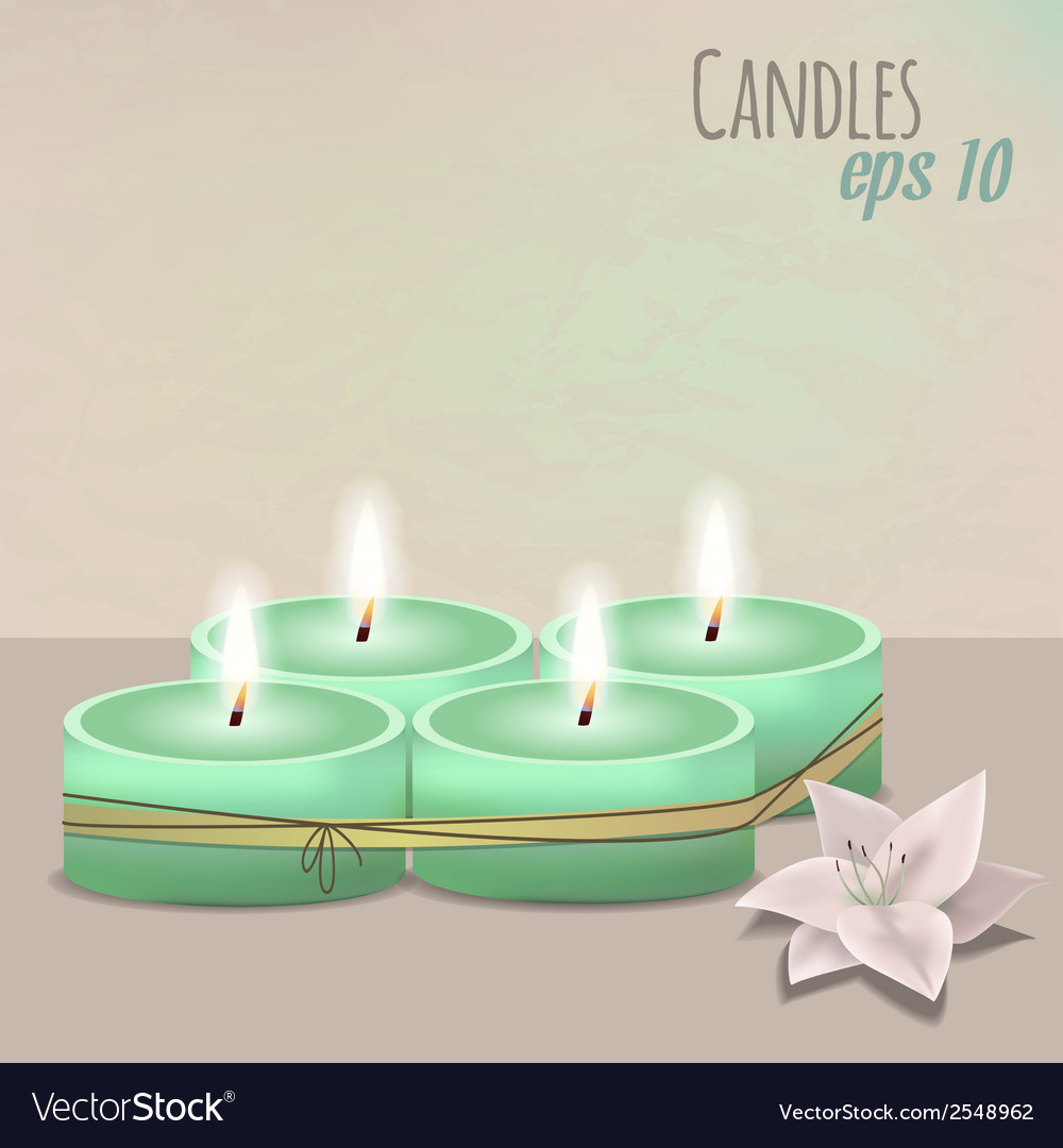 Colorful with candles set and flower vector | Price: 1 Credit (USD $1)