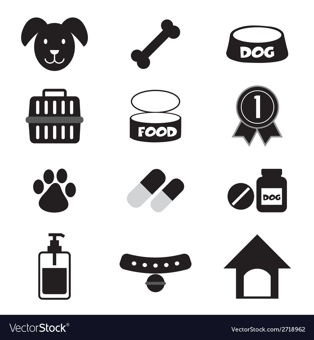 Dog icons set vector | Price: 1 Credit (USD $1)