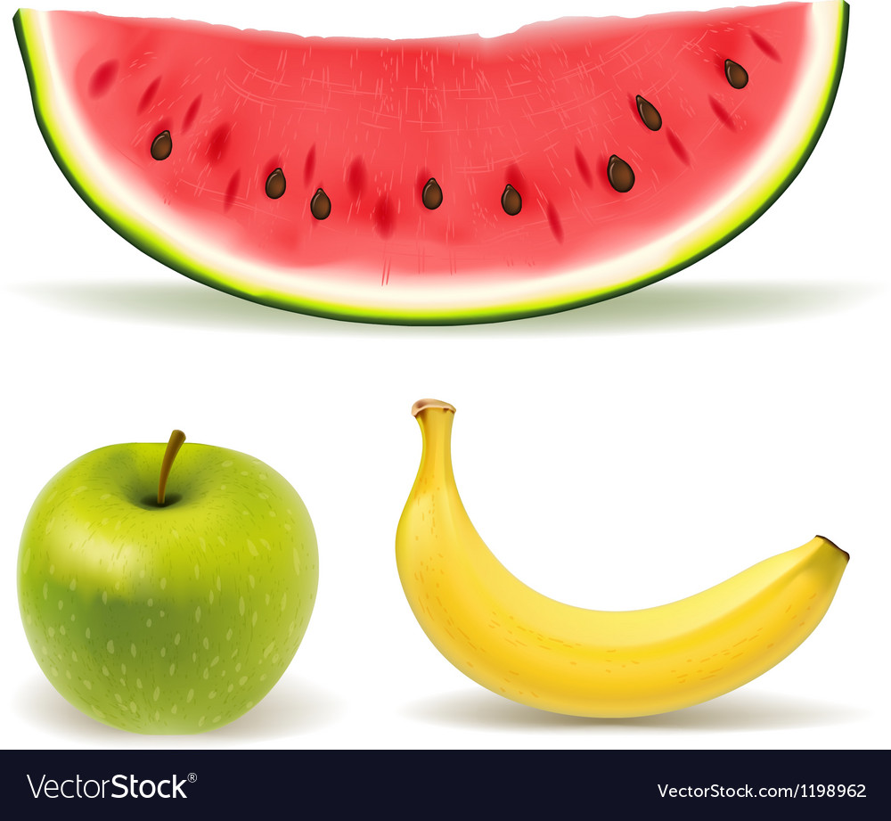 Fresh fruit set on white background vector | Price: 1 Credit (USD $1)