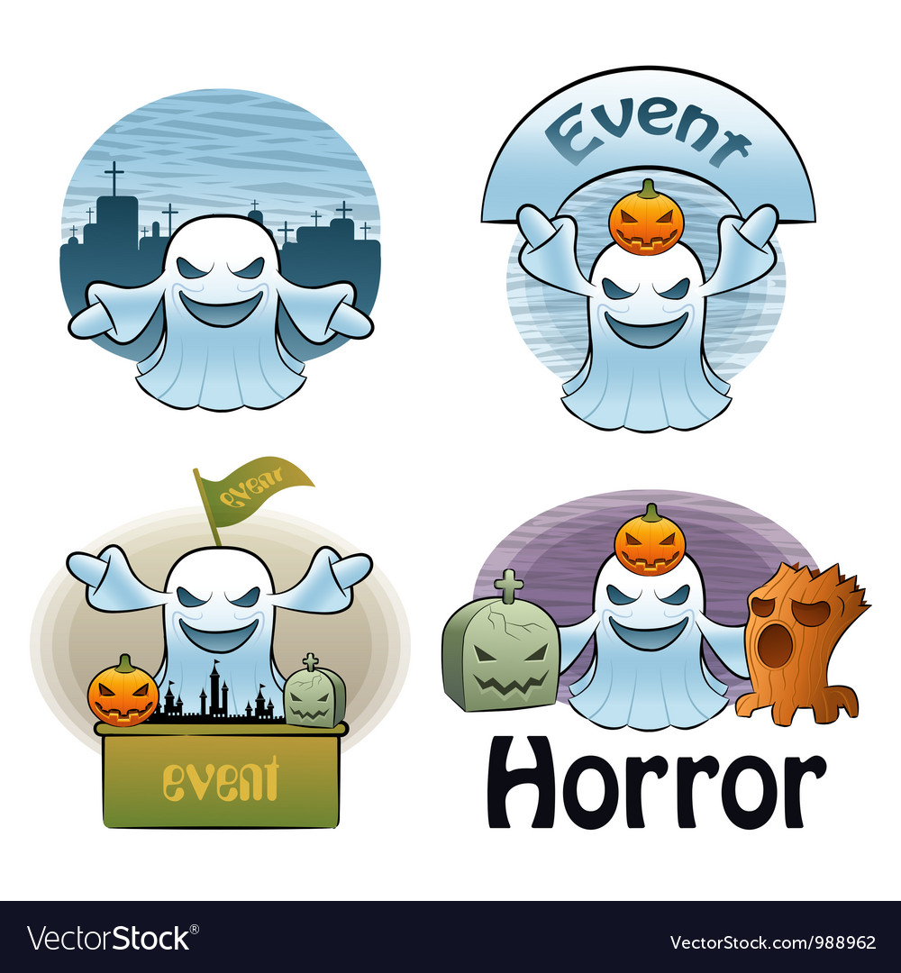 Halloween day ghost characters vector | Price: 3 Credit (USD $3)