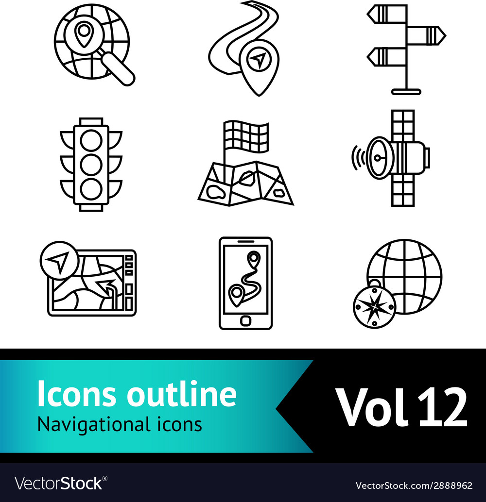 Mobile navigation icons set vector | Price: 1 Credit (USD $1)