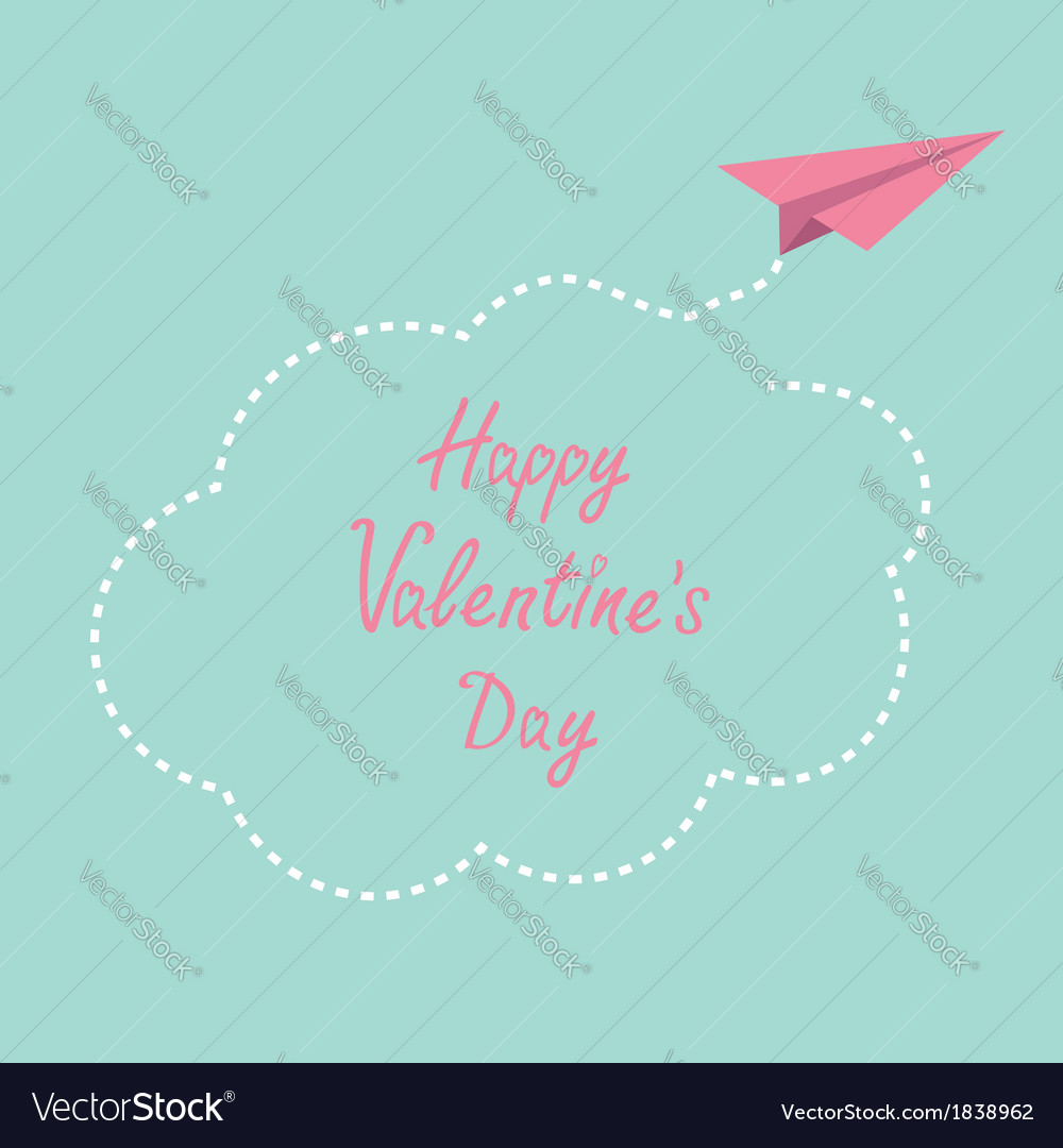 Paper plane cloud in the sky happy valentines day vector | Price: 1 Credit (USD $1)
