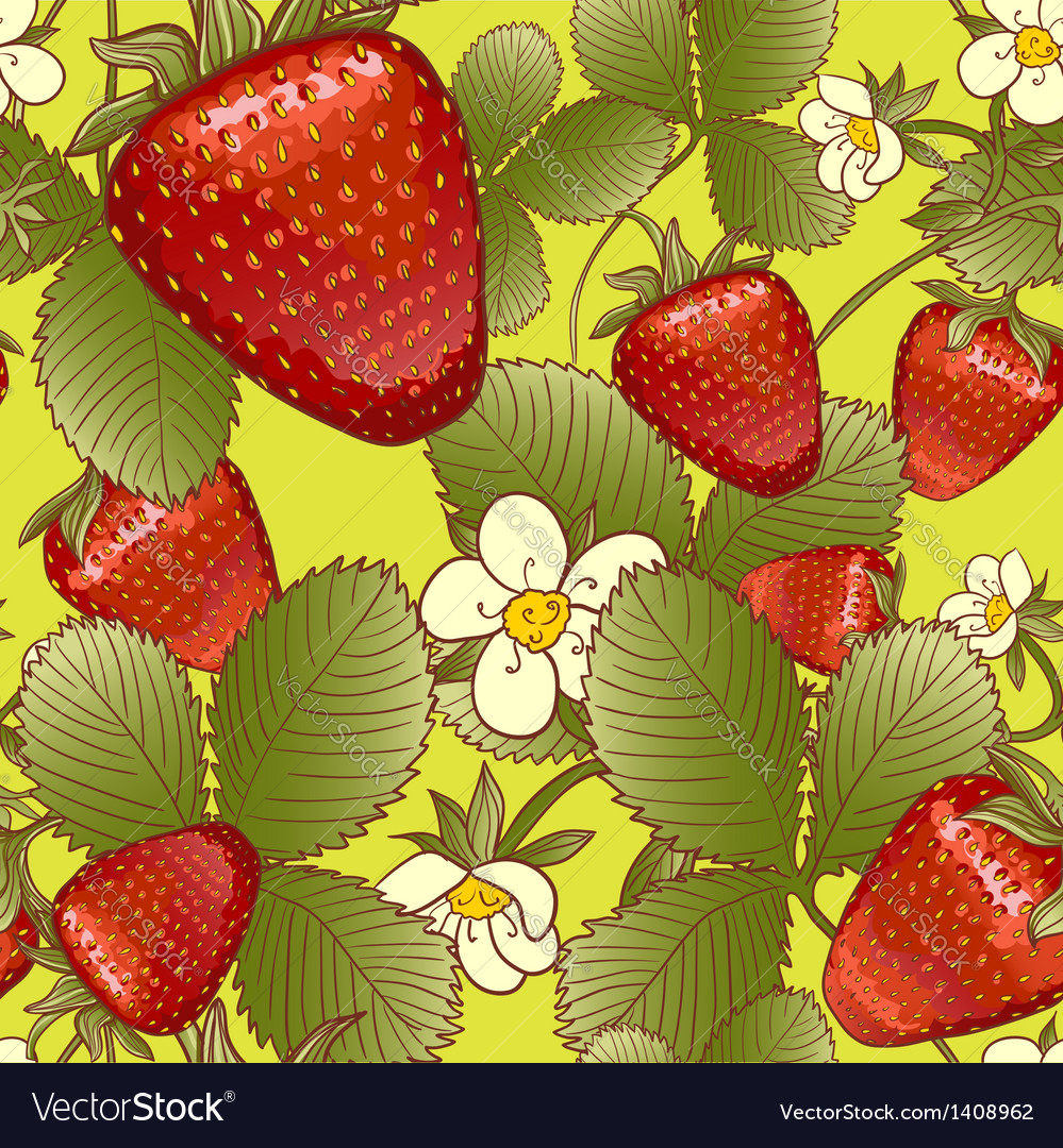 Seamless background with strawberries vector | Price: 1 Credit (USD $1)