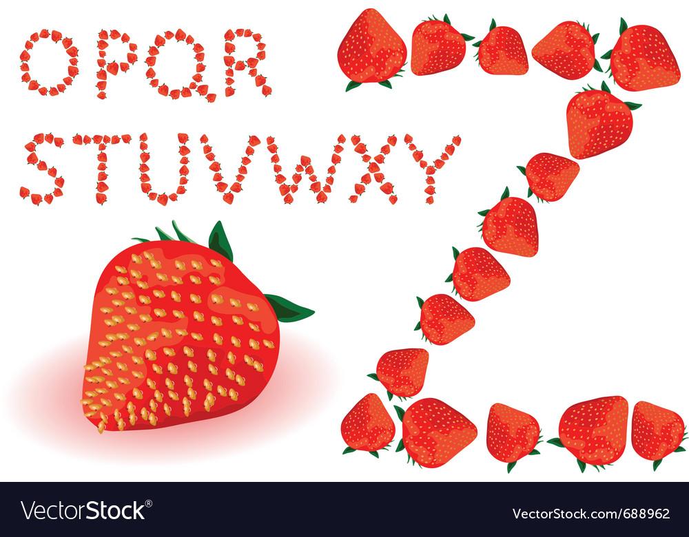 Strawberries alphabet vector | Price: 1 Credit (USD $1)