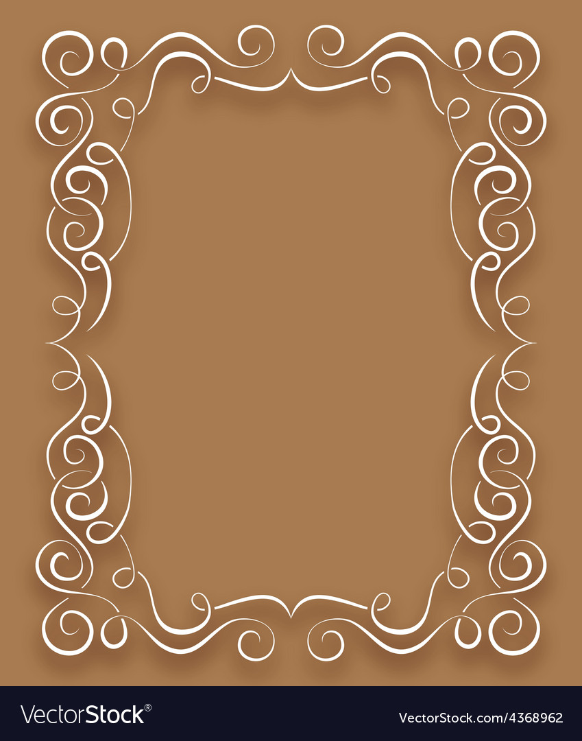 White frame with curls on a brown background vector