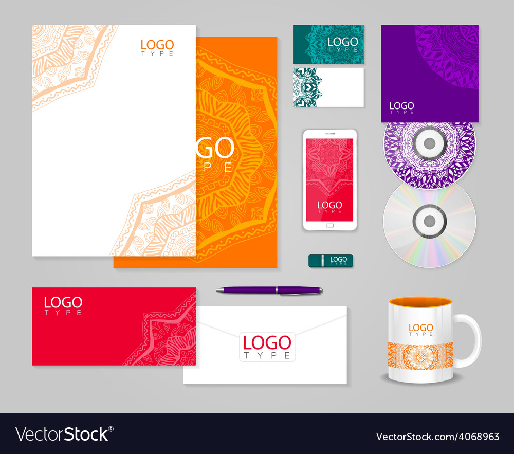 Ethnic corporate identity template with ornament vector | Price: 1 Credit (USD $1)