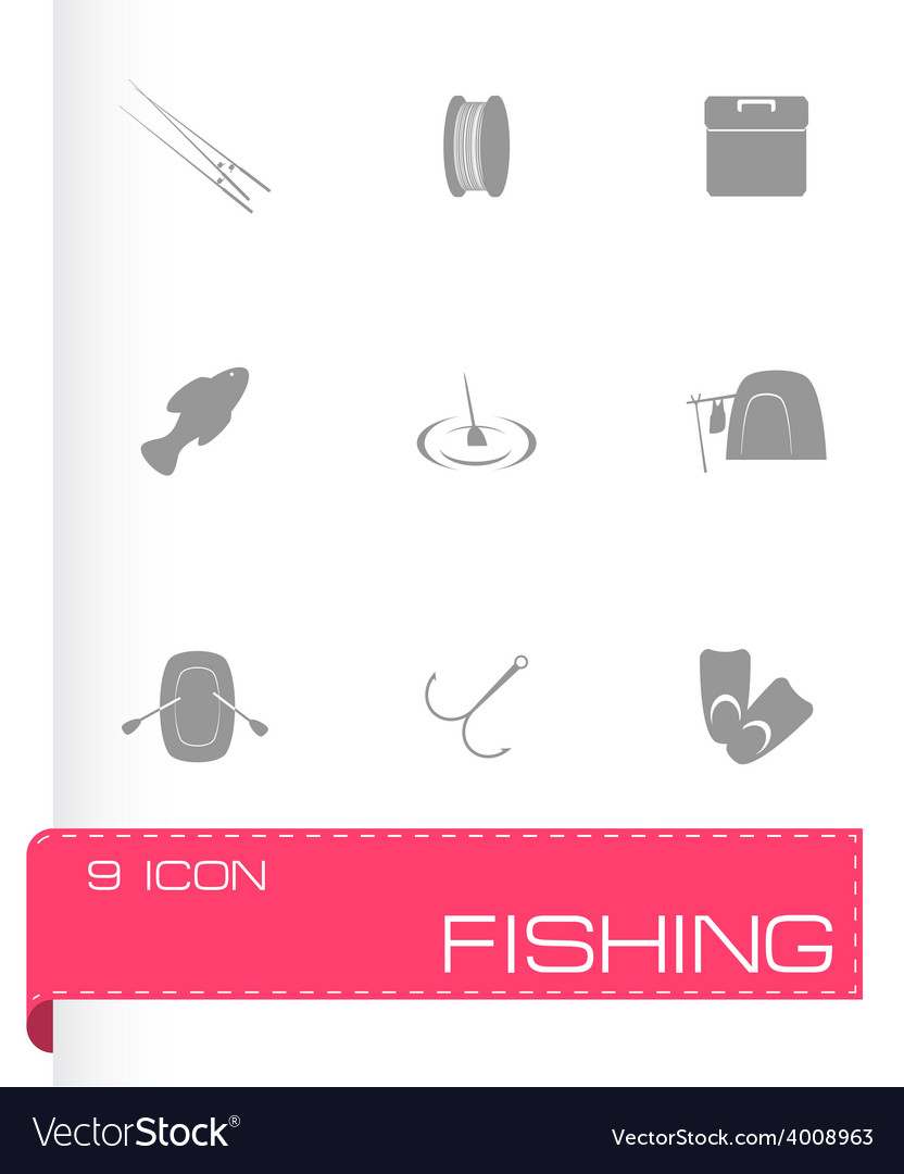 Fishing icon set vector | Price: 1 Credit (USD $1)
