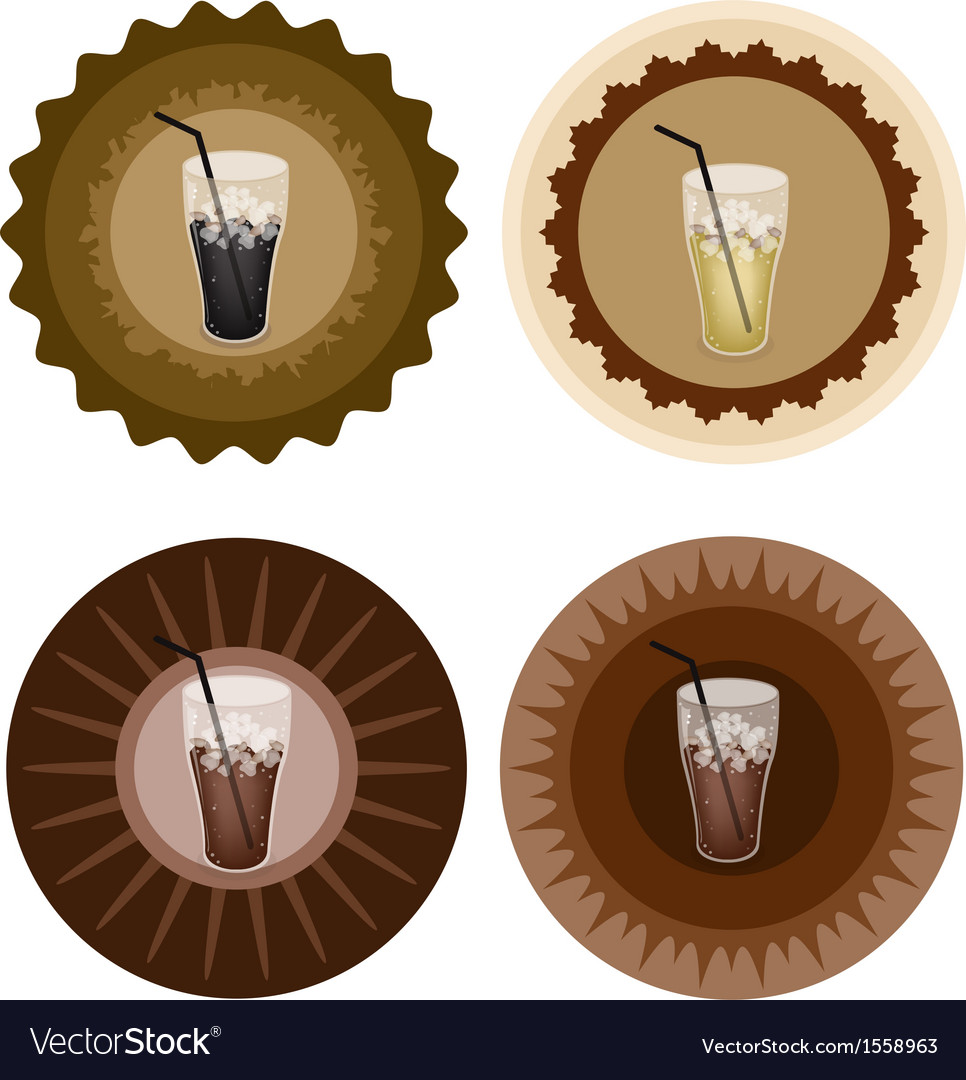 Four type of iced coffee on retro round label vector | Price: 1 Credit (USD $1)