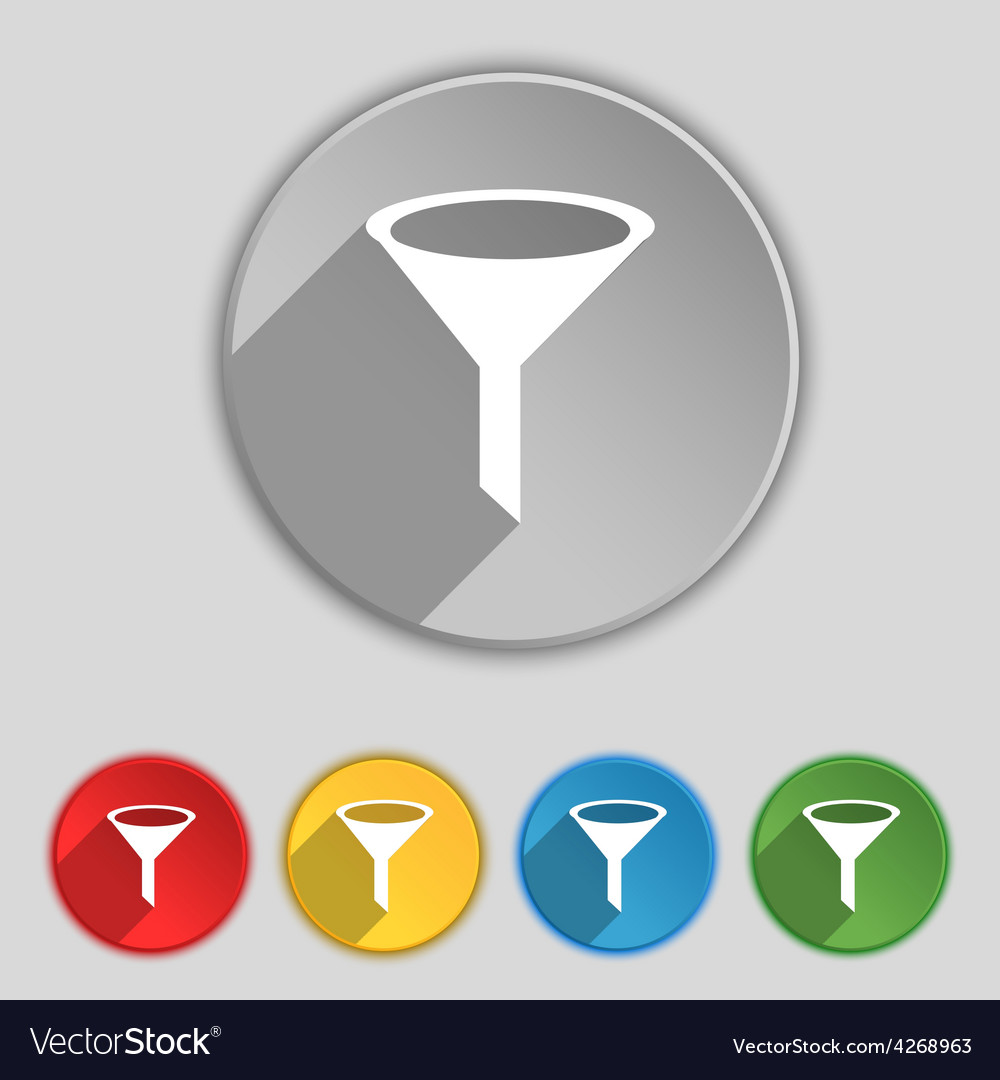 Funnel icon sign symbol on five flat buttons vector | Price: 1 Credit (USD $1)