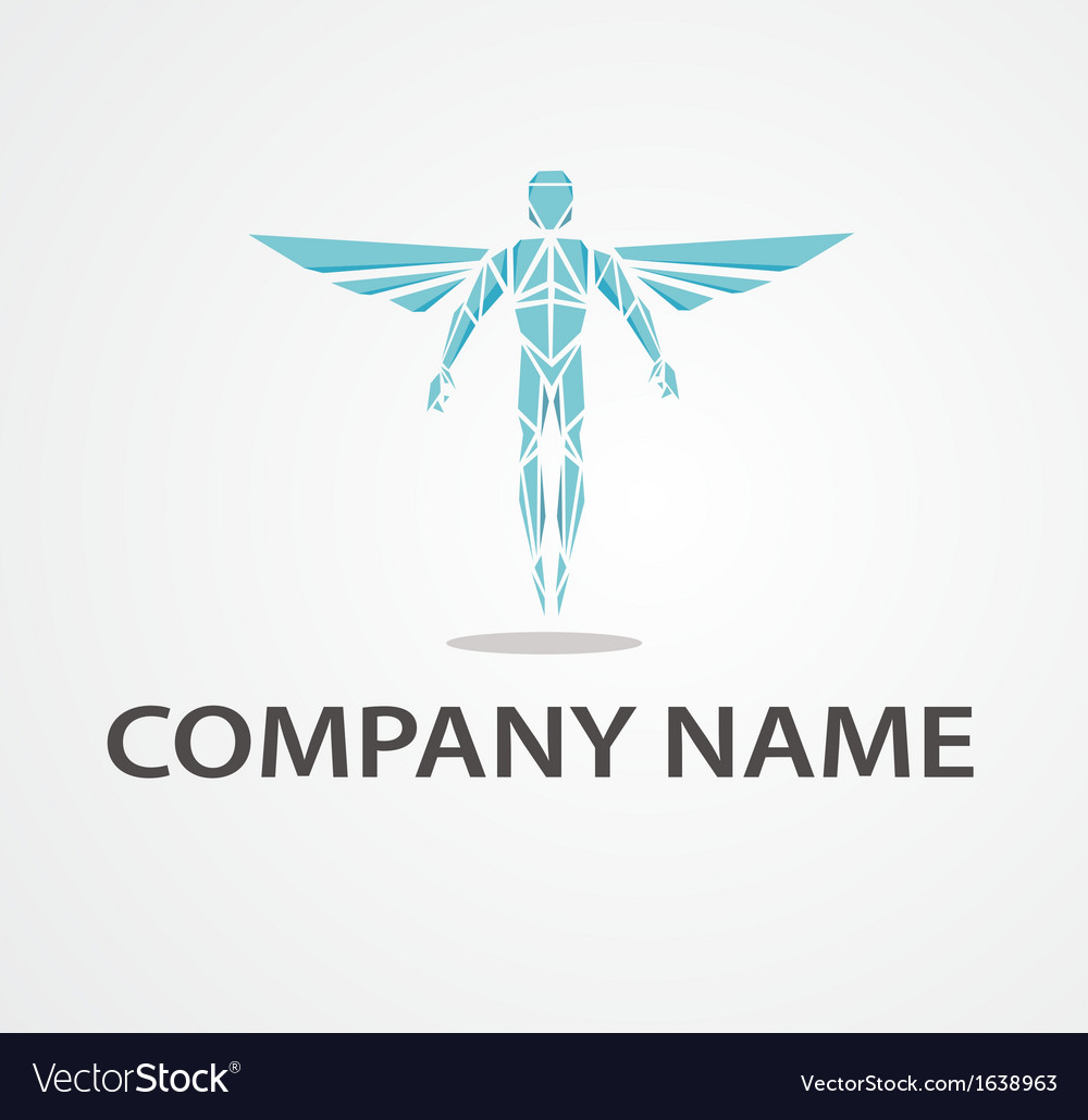 Logo flying man vector