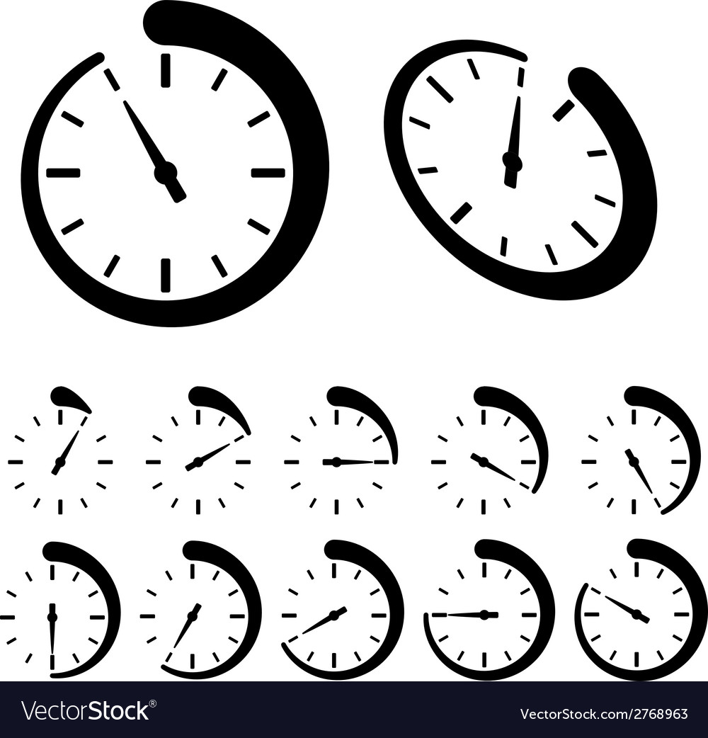 Round black timer icons vector | Price: 1 Credit (USD $1)