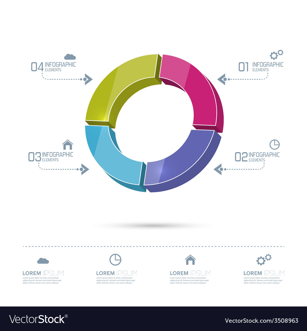 Round colorful chart divided into sectors vector | Price: 1 Credit (USD $1)