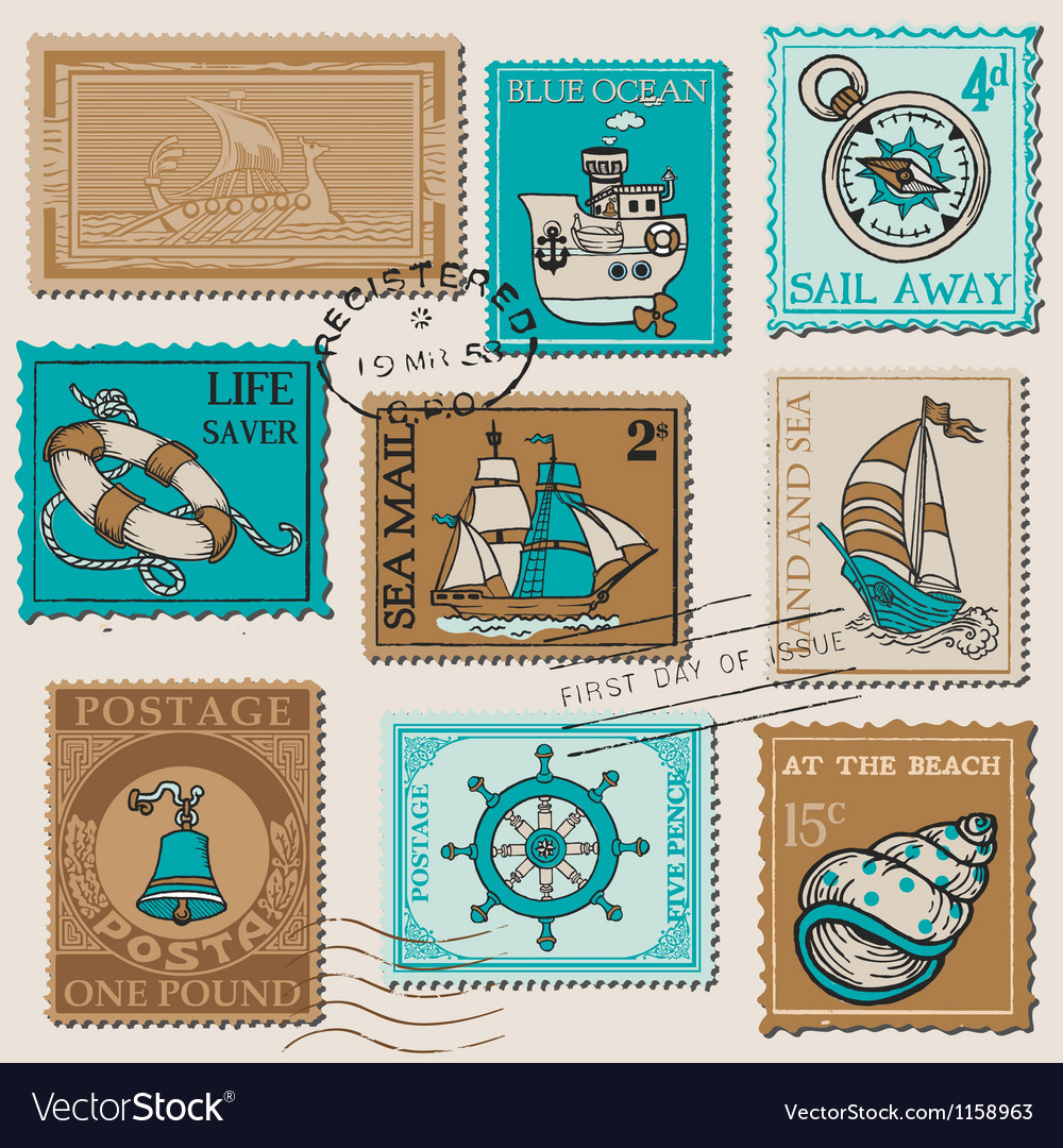 Set of retro sea post stamps vector | Price: 1 Credit (USD $1)