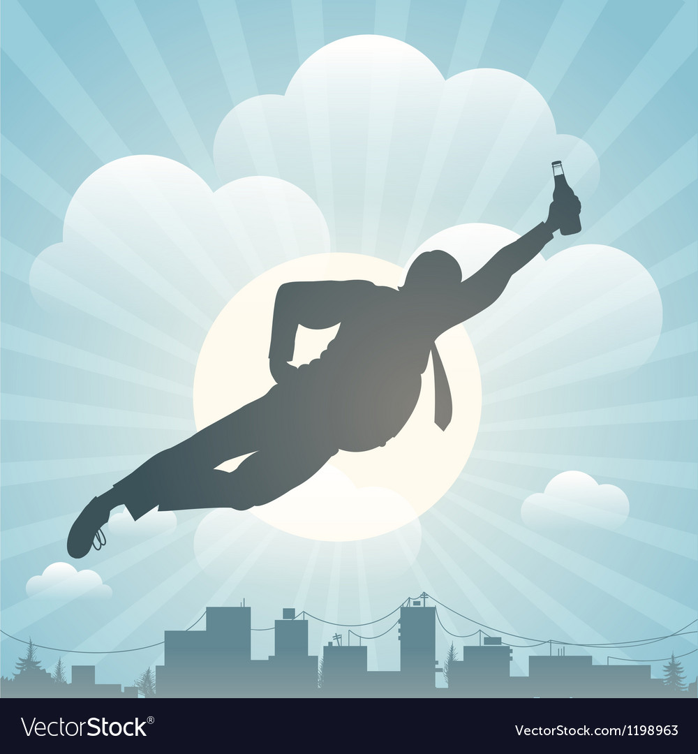 Silhouette of the man flying above city vector | Price: 1 Credit (USD $1)