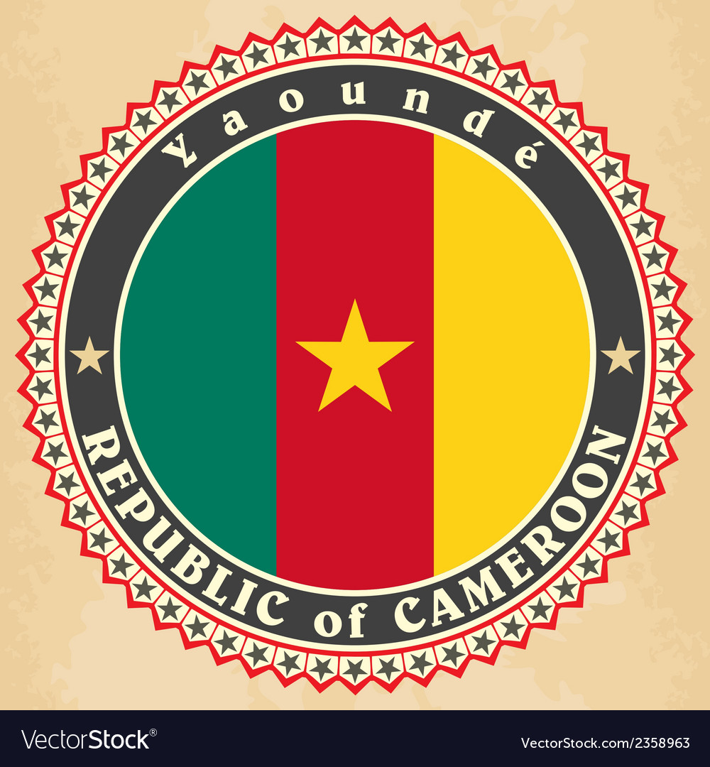Vintage label cards of cameroon flag vector | Price: 1 Credit (USD $1)