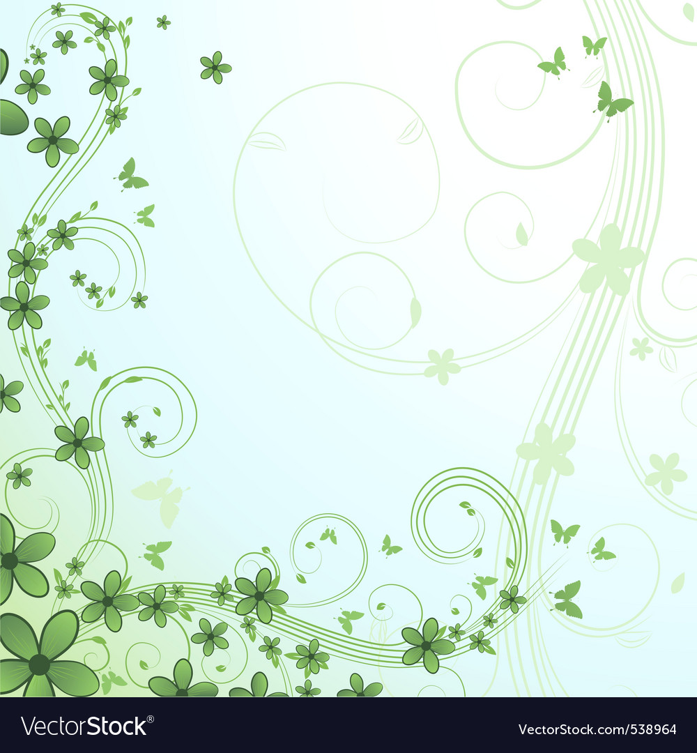 Abstract floral background with flower and butterf vector | Price: 1 Credit (USD $1)