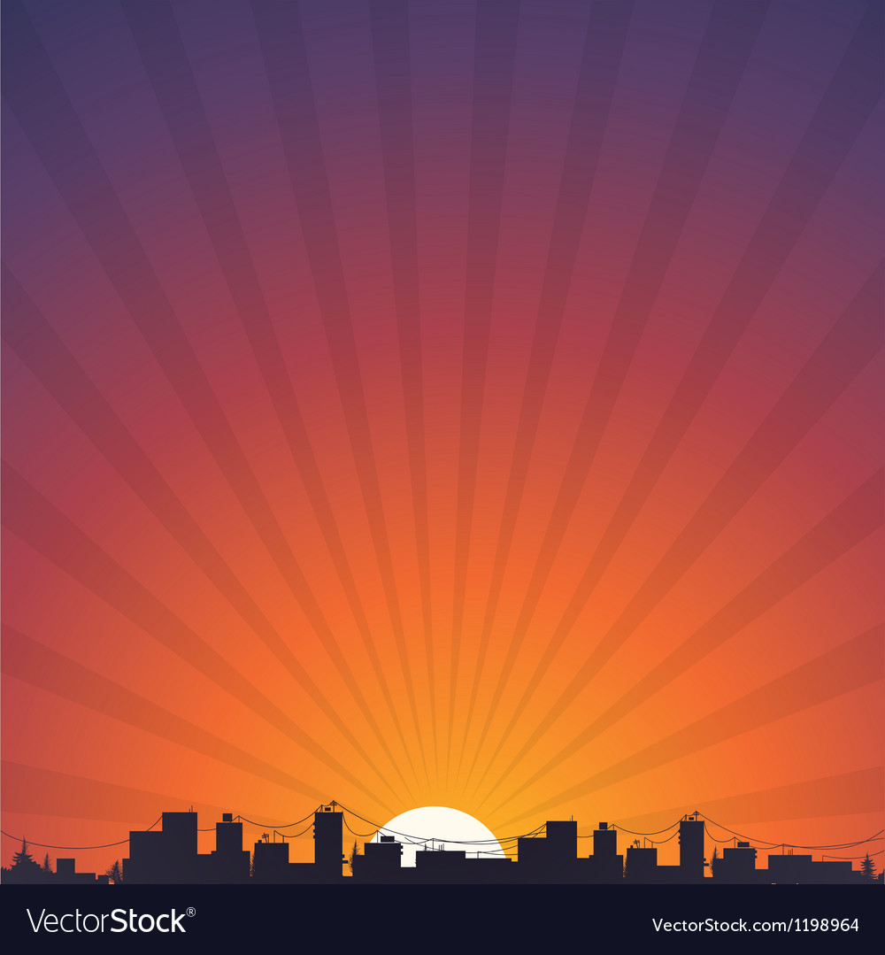 City silhouette at sunrise vector | Price: 1 Credit (USD $1)