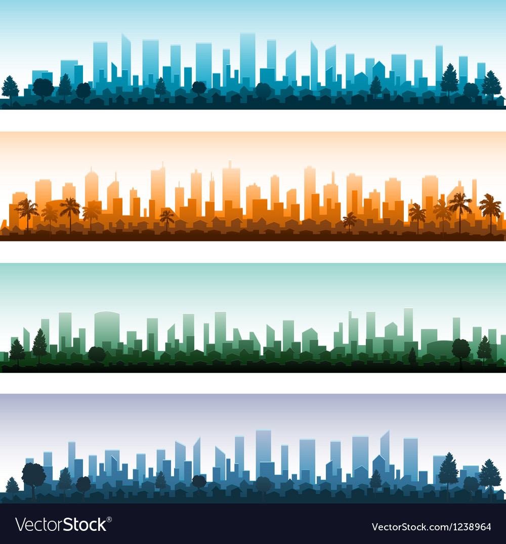 Cityscape silhouette city panoramas vector | Price: 1 Credit (USD $1)